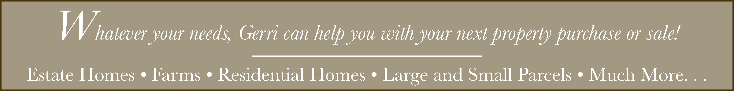 Whatever your needs, Gerri can help you with your next property purchase or sale! Estate Homes, Farms, Residential, Homes, Large and Small Parcels, Much more. . .